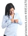 Casual business woman undressing unbuttoning shirt 49951670