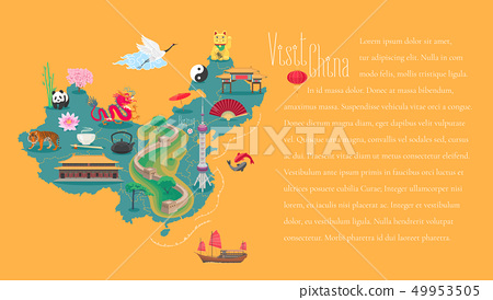 Map of China article with bodycopy layout vector illustration. Icons with Chinese landmarks 49953505