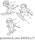 vector set of skiing 49956127