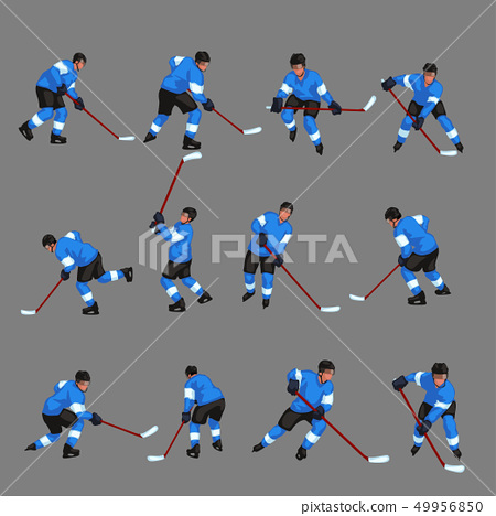 colored hockey player set 3 49956850
