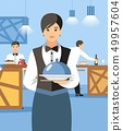 Waitress with Hot Dish and Lid Cartoon Character 49957604