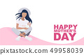Happy Mother's Day greeting poster, card or banner template with young mom and a baby. Mother Day 49958039