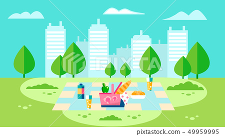 Countryside Picnic Preparation Flat Illustration 49959995