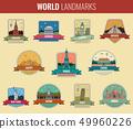 World landmarks icon set. Travel and Tourism. Vector 49960226