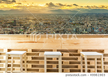 Wooden table or counter and chair 49961903