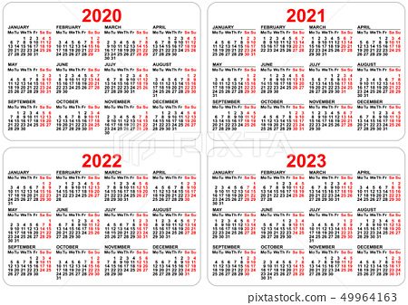 2022 2023 Pocket Calendar.2020 2021 2022 2023 Years Set Pocket Calendar Stock Illustration 49964163 Pixta