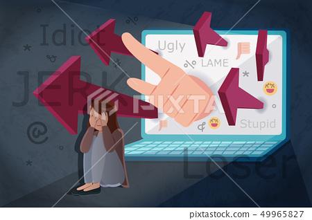 sad girl getting cyber bullying 49965827