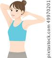 穿著訓練服的女人,通過伸展扭曲上半身 49970201