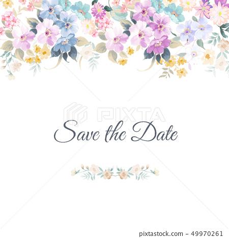 美麗優雅的水彩花卉和邀請卡 49970261