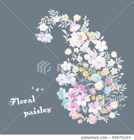 아름 다운 우아한 수채화 꽃과 초대 카드 49970264