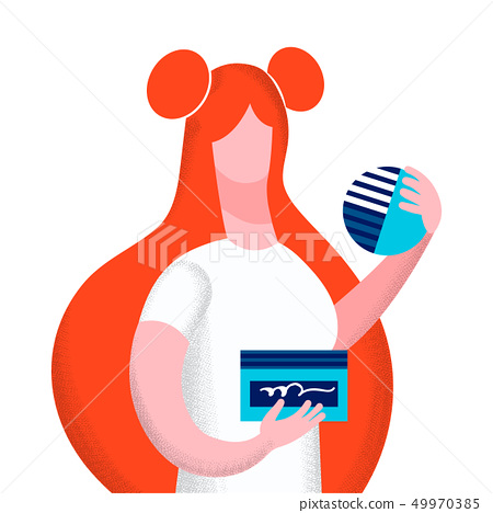 Woman with Cosmetics Flat Vector Illustration 49970385