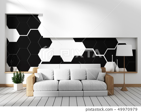 Room with sofa and hexagonal tile wall 49970979