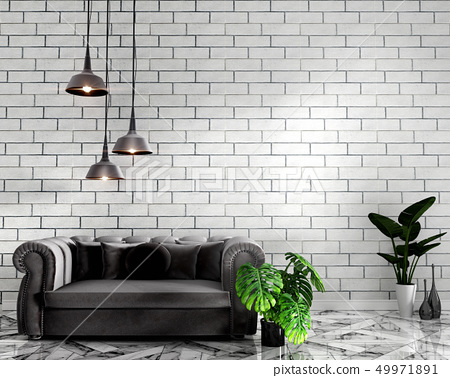 Living Room Interior With Tile Classic Texture Wal Stock Illustration 49971891 Pixta