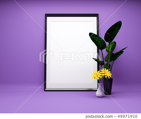 White picture frame on purple background 49971910