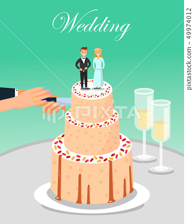 Bride and Groom Cutting Wedding Cake Together. 49974012