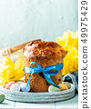 Easter orthodox sweet bread, kulich and colorful quail eggs 49975429