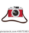 red vintage camera with camera strap 49975983