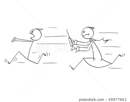 Cartoon of Man Running Away from Doctor with Injection Syringe 49977661