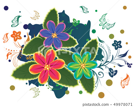 Tropical Flower and Floral Ornament 49978071
