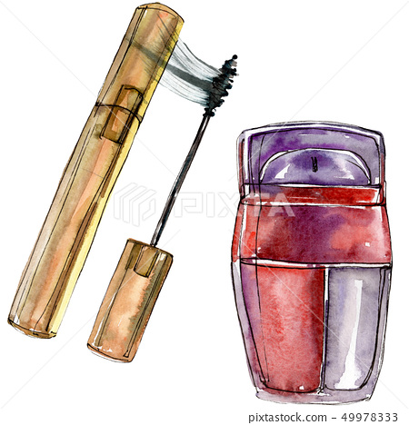 Mascara and perfume sketch glamour illustration in a watercolor style isolated element. Watercolour 49978333