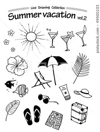 熱帶暑假手繪線描 49980285