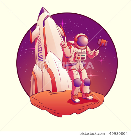 Astronaut or spacemen character wearing space suit 49980804