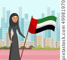 Woman in Hijab visit City Flat Vector Illustration 49981970
