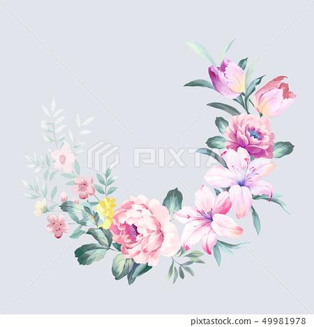 優雅的水彩花卉 49981978