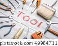 Industry toolkit and written tool close up 49984711