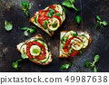Sandwiches  with grilled vegetables top view 49987638