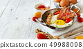 Breakfast with fried eggs and bacon - Continental 49988098