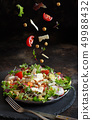 Chickpea salad with vegetables and microgreens 49988432