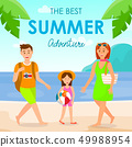 Holidays with Family on Sea Resort Vector Postcard 49988954