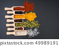 Different exotic spices on a black background 49989191