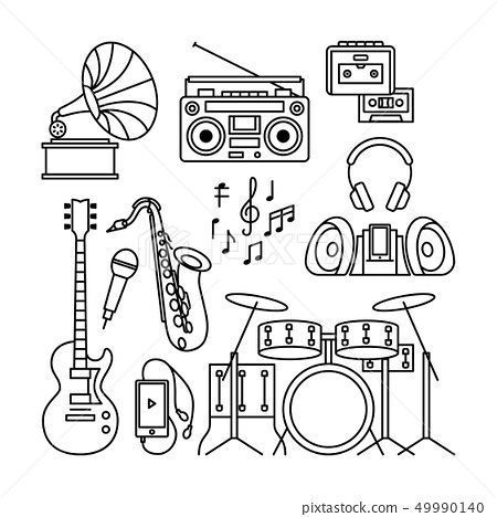 Music instruments thin line icons 49990140