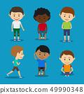 Funny kids boys vector illustration.  49990348