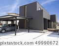 New house and house with empty garage 49990672