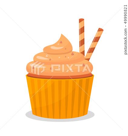 Delicious Cupcake Cartoon Vector Illustration 49990821