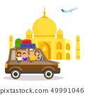 India Tourist Attraction Vector Travel Postcard 49991046