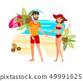 Couple on Paradise Island Flat Color Illustration 49991625