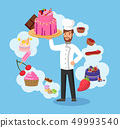 Master Chef with Bakery Color Vector Illustration 49993540
