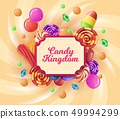 Realistic Banner Written in Frame Candy Kingdom.  49994299