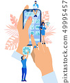 Hand Holding Smartphone Filled with Icons Flat. 49995457