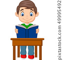 Cartoon little boy studying 49995492