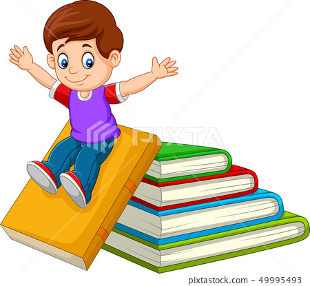 Cartoon little boy playing with large books 49995493