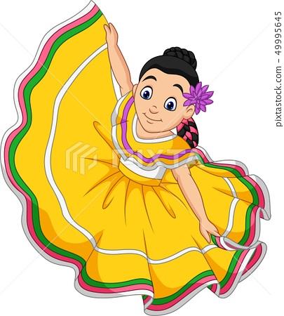 Cartoon girl dancing, Cinco de mayo celebration. 49995645