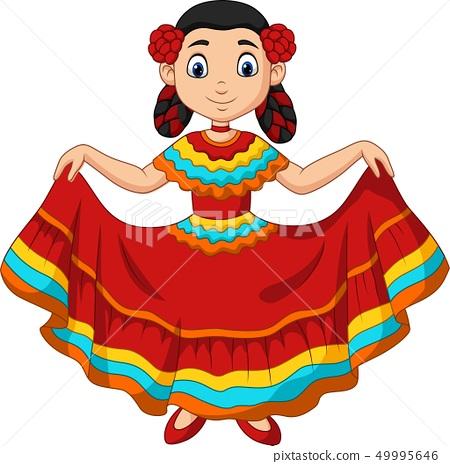 Cartoon girl dancing, Cinco de mayo celebration. 49995646