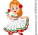 Cartoon girl dancing, Cinco de mayo celebration. 49995652