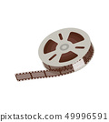3d empty and blank reel of movie, 35 mm negative film strip for cinema and video. 49996591