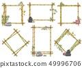 Vector sketch bamboo frame with zen pebble set 49996706